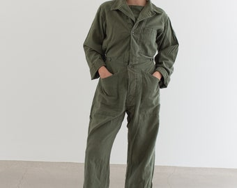 Vintage Olive Green Coverall | Green Army Jumpsuit | Flight Suit Studio Ceramic | Boilersuit | J010