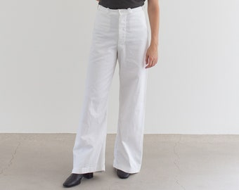 Vintage 28 Waist White Sailor Pant | High Rise Button Fly Cotton Trousers | Navy Pants | WS008