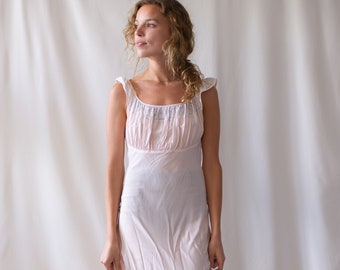 Vintage Light Pink Silk Semi Sheer Dress Nightgown | 30s 40s Bias Cut Ruched | XS S