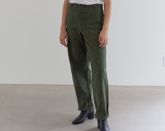 Vintage 28 Waist Olive Green Army Pants | Utility Fatigues Military Trouser | OG107 |  F077-