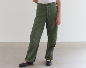 Vintage 28 Waist Olive Green Army Pants | Utility Fatigues Military Trouser | F078
