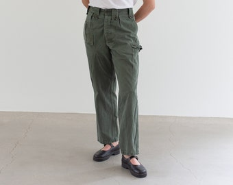 Vintage 28 Waist Olive Green Fatigues | Cargo Trousers | Pleated Army Pants | AP161