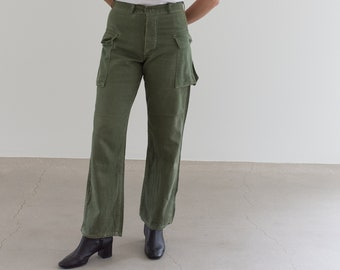 Vintage 29 Waist Olive Green Fatigues | Side Pocket 60s Cargo Trousers | Army Pants | AP159