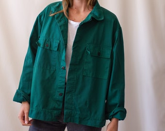 Emerald Green Two Pocket Work Jacket | Unisex Cotton Utility Work Jacket | Made in Italy | M L