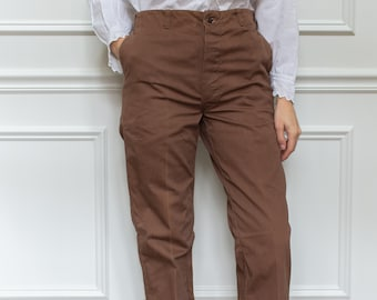 Vintage 29 Waist Coffee Brown Cotton Chinos | Sun-Faded Crease Trousers |