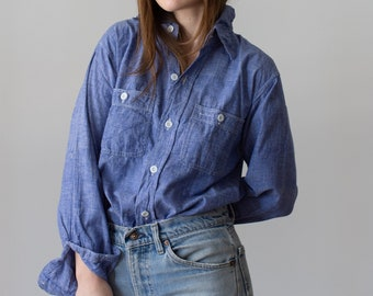 Vintage Chambray Long Sleeve Shirt | Blue Oxford Button Up | Light Blue Chambray Shirt | 70s Collar