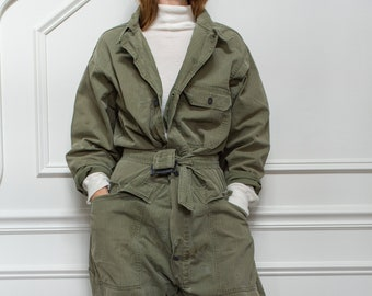 Vintage Green Herringbone Twill Coverall  | Green Army Coverall | Green Jumpsuit | Flight Suit Studio Ceramic  | Boilersuit
