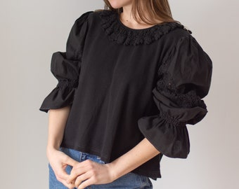 Vintage Black Puff Sleeve Shirt | Crochet Collar | Rib Knit | Romantic Blouse | M L | BP062