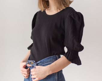 Vintage Black Puff Sleeve Shirt | Rib Knit | Linen | Romantic Blouse | S | BP063