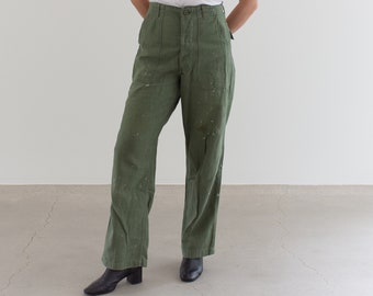 Vintage 27 Waist Painter Olive Green Army Pants | Paint Splatter Utility Fatigues Military Trouser | F079