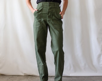 Vintage 24 Waist Army High Waist Pants | Button Fly | Deadstock OG 107 | Cotton Utility Army Pant | Green Fatigue Slim Trouser | Made in USA