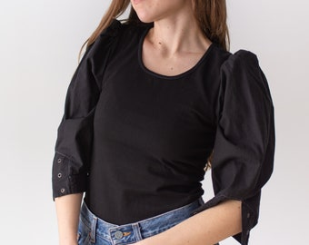 Vintage Black Puff Sleeve Shirt | Grommet | Romantic Blouse | XS S | BP046