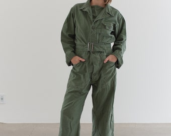 Vintage Olive Green Coverall | Green Army Jumpsuit | Flight Suit Studio Ceramic | Boilersuit | J008