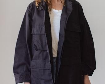 Vintage Black Jacket | Cargo Pocket Safari Button up Coat | Unisex Deadstock | M L |