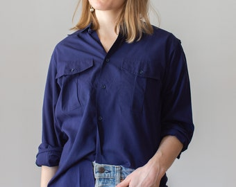Vintage Deep Navy Blue Work Shirt | Button Up Blouse | Made in Spain | M |