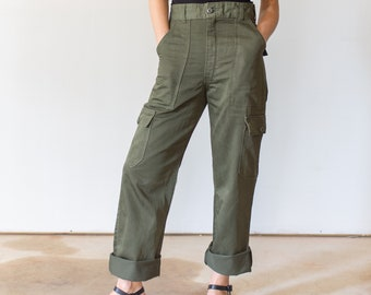 Vintage 25 27 28 29 Waist OG 107 Style Slim Olive Green Army Pants Trousers | Cargo Pocket 80s Utility Fatigues