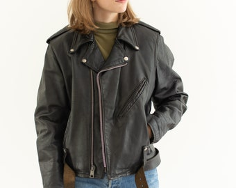 Vintage Black Leather Harley Davidson Motorcycle Jacket | 70s Unisex Made in USA | S M |