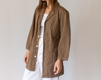 Vintage Mushroom Brown Overdye Chore Jacket | Cotton French Workwear Style Utility Work Coat Blazer | XS S