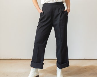 Vintage 24 26 27 31 32 Waist Side Zip Studio Trousers | Dart Black Cotton Pants |