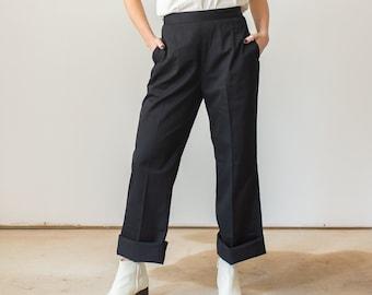 Vintage 24 26 27 31 32 Waist Side Zip Trousers | Dart Black Cotton Pants |