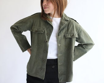 Vintage Olive Green Shirt Army Jacket Green Cotton Button Up Etsy
