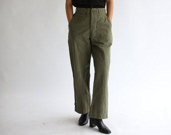 df4a66de88c70 Vintage 26 27 28 29 30 Waist Olive Green Field Trouser | 100% Cotton  Utility Fatigues Military Army Pants | Artist Pant