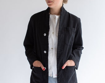 Vintage Black Petite Round Chore Blazer | Round Three Pocket Jacket | Cotton French Workwear Style Utility Work Coat Blazer XS S