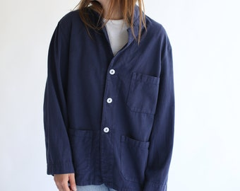 Vintage Navy Blue Overdye Chore Jacket | Blue Cotton French Workwear Style Utility Work Coat Blazer XS S M L