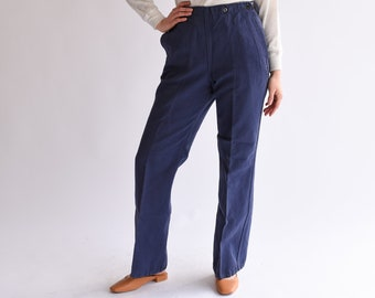 Vintage 32 33 34 35 Waist Navy Blue Herringbone Twill Trouser | Broadfall High Waist High Rise Pant | Sailor