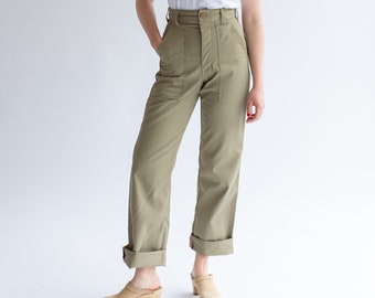 Vintage 27 34 Waist Army Tan High Waist Pants | Cotton Poly Utility Pant | Beige Khaki Fatigue pants | slim Army Trouser | Made USA