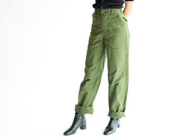 Vintage 25 Waist Army High Waist Pants | OG 107 | Cotton Utility Army Pant | Zipper Fly Green Fatigue Slim Trouser | Made in USA
