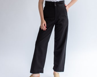 Vintage Black Cotton Drill Pants | Straight Taper Leg High Waist Trouser | 26 28 29 30 32 Waist