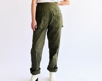 Vintage 24 Waist Olive Green Army Pants | Front Pocket Ripstop Fatigues | Military Trousers | Petite XS
