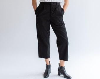 Vintage 29 Waist Black Pleat Cotton Twill Chinos | Button Fly Taper Leg Trouser | Overdye |