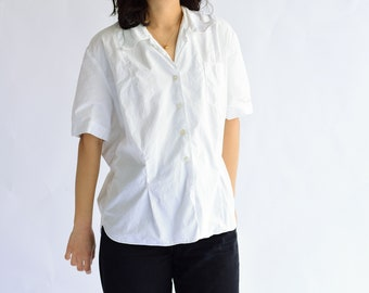 Vintage White Cotton Loop Collar Blouse | Short Sleeve Boxy Blouse | L