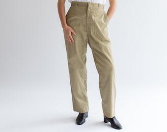 Vintage 29 Waist Khaki Twill Chinos | Zipper Fly Metal Tab | 60s Cotton Beige Pant | K007