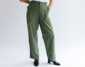 Vintage 30 Waist Olive Green Army Pants | Utility Fatigues Military Trouser | Button Fly | F054