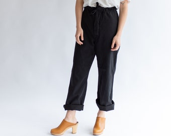 Vintage 26 27 28 29 30 31 32 Waist Black Drawstring Sailor Pant | Wide leg High Waist Cotton Pant