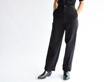 Vintage 24 Waist Black Chino | Wide Leg Trouser | PETITE