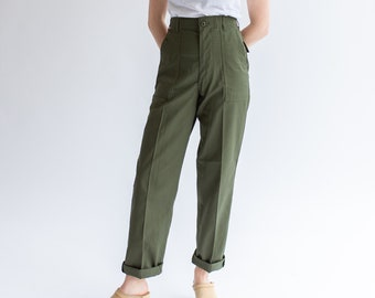 Vintage 27 29 Waist Army Pants | Cotton Poly Utility Army Pant | Green Fatigue pants | Made in USA