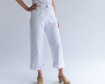Vintage White Denim Broadfall Trousers | High Waist Workwear Pants | Sailor Pants | 26 27 28 29 30 Waist