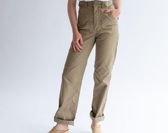 Vintage 27 28 Waist Army Tan High Waist Pants | Cotton Poly Utility Pant | Beige Khaki Fatigue pants | slim Army Trouser | Made USA
