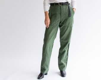 Vintage 28 29 30 Waist Olive Green Army Pants   Utility Fatigues Military Trouser   F045