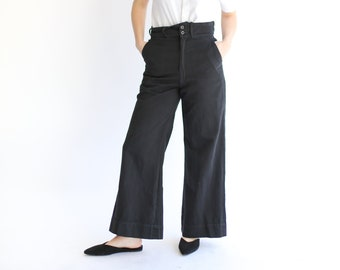 Vintage Black Cotton Drill Pants | Wide Leg Style | High Waist Trouser | 28 29 30 Waist Sailor