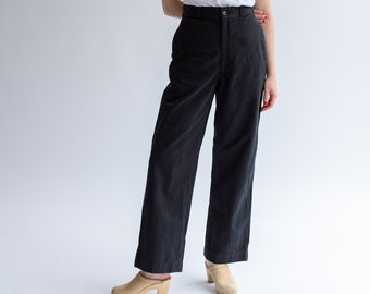 Vintage 28 Waist Black Chino   Wide Leg Trouser   Hi Rise Cotton Pant  