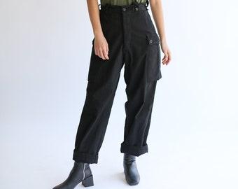 Vintage Black High Waist Cargo Pants | HBT Herringbone Twill Fatigues Trousers | Dutch Military | 24 25 26 27 28 29 Waist
