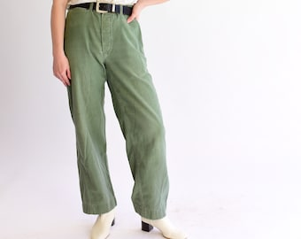 00f456fbd8956 Vintage 30 Waist Olive Green Chinos | Utility Fatigues | Military Trouser |  Round Pocket