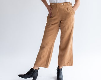 Vintage 28 29 30 Waist Almond Sailor Trousers | Braodfall High Rise Herringbone Twill Cotton Pants |