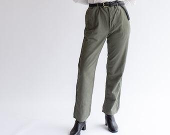 Vintage 34 Waist Slate Grey Utility Pant | High Waist Cotton Pants | Workwear Trousers | L XL