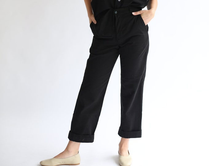 Featured listing image: SAMPLE SALE | Vintage 26 27 28 29 Waist Overdye Black Cotton Twill Chinos | High Waist Straight Leg Trouser |